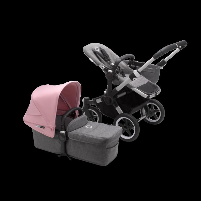 Paketti Bugaboo Donkey3 Mono yhdistelmävaunu Grey Melange - Soft Pink/ Alu runko Bugaboo - 1