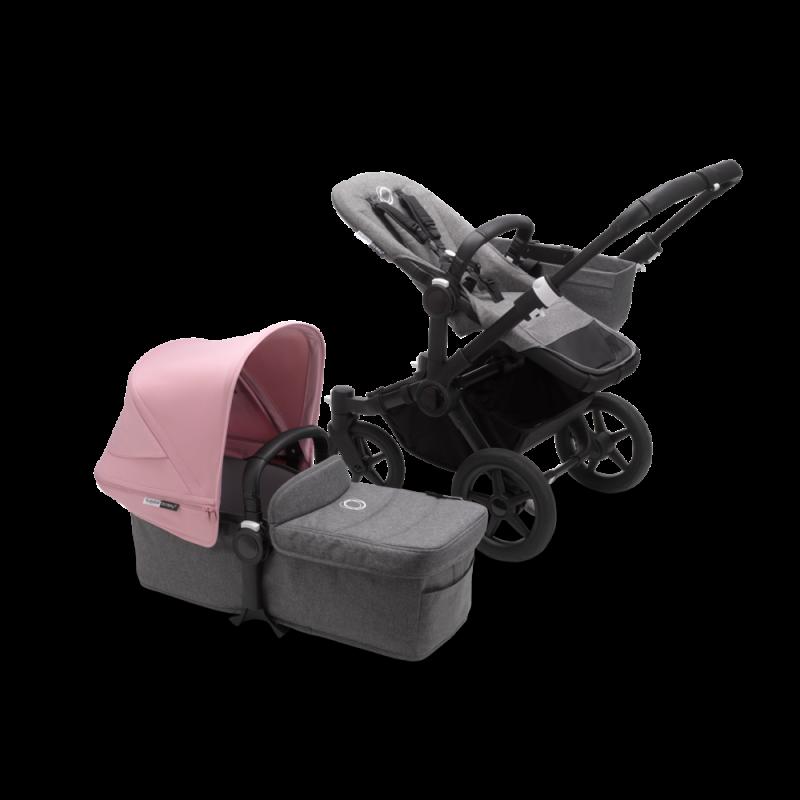 Paketti Bugaboo Donkey3 Mono yhdistelmävaunu Grey Melange - Soft Pink/ Black runko Bugaboo - 1