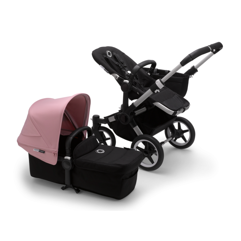 Paketti Bugaboo Donkey3 Mono yhdistelmävaunu Black - Soft Pink / Alu runko Bugaboo - 1