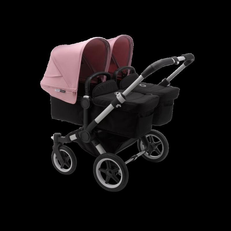 Paketti Bugaboo Donkey3 Twin kaksostenvaunu Black - Soft Pink / Alu runko Bugaboo - 1