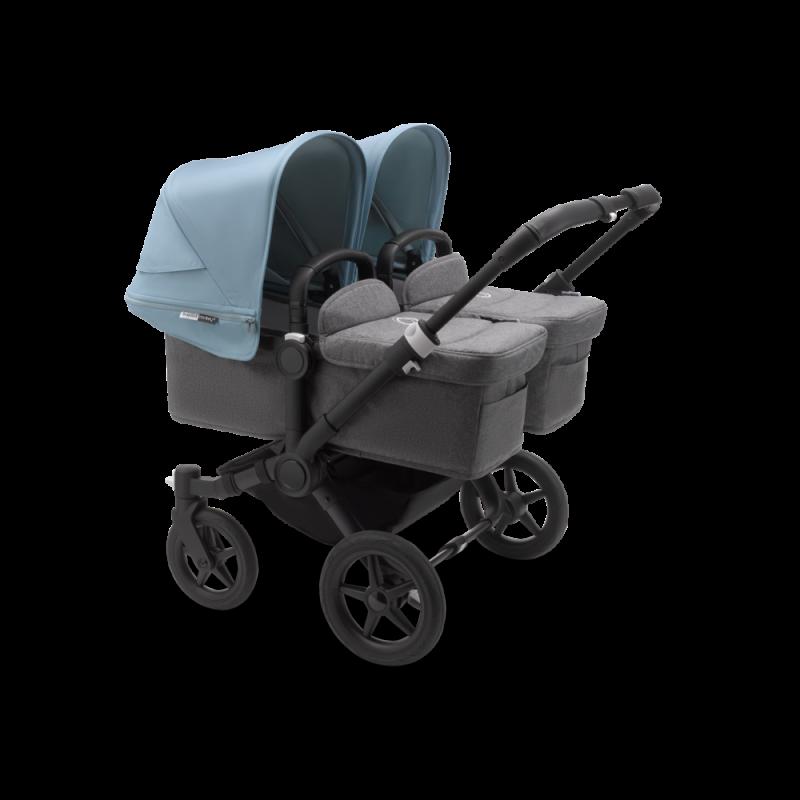 Paketti Bugaboo Donkey3 Twin kaksostenvaunu Grey Melange - Vapor Blue / Black runko Bugaboo - 1