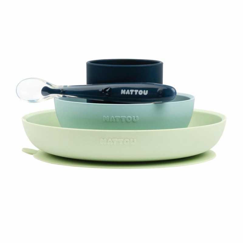 Nattou Lasten silikoninen astiasto, Light Blue Nattou - 1