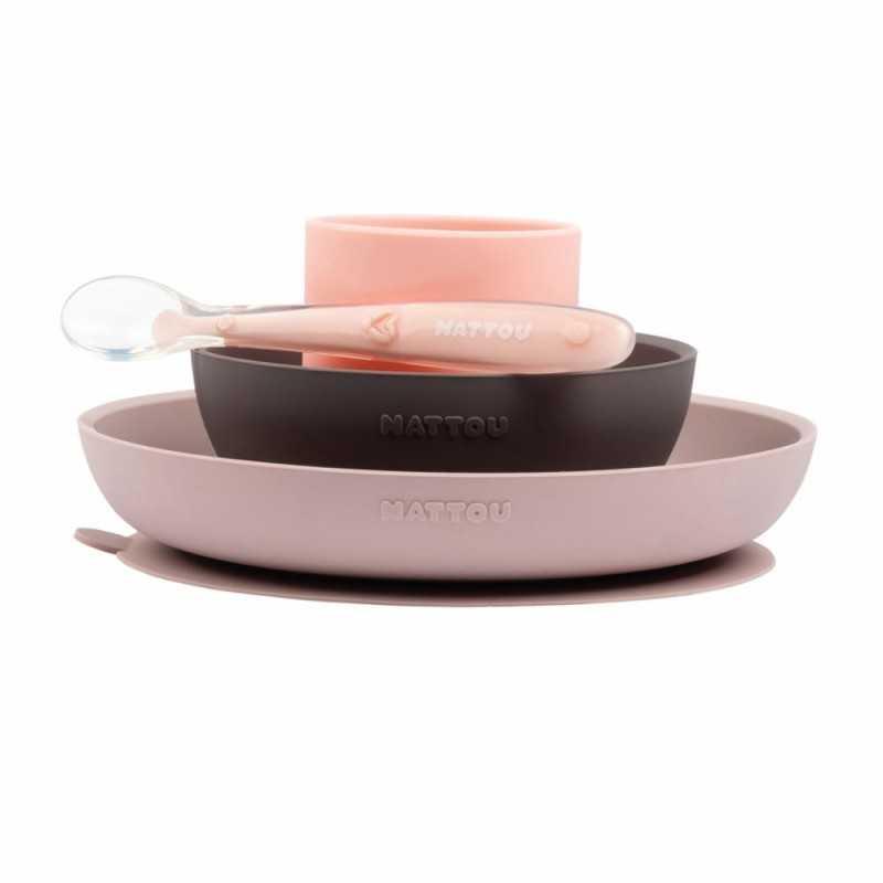 Nattou Lasten silikoninen astiasto Dusty pink Nattou - 1