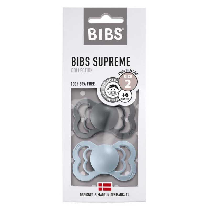 Bibs Supreme 2 Silikonitutti 2, Iron/Baby Blue Bibs - 1