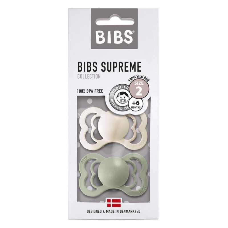 Bibs Supreme 2 Silikonitutti 2, Ivory/Sage Bibs - 1