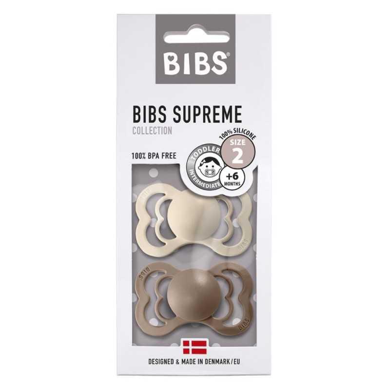 Bibs Supreme 2 Silikonitutti 2, Vanilla/Dark Oak Bibs - 1
